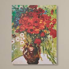 found it at wayfair red poppies and daisies by vincent van gogh painting print on canvas love the color would incorporate red into the liv