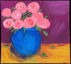 roses clay pot table mexican folk art romy painting