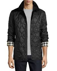Men's Quilted Jackets & Puffer Coats at Neiman Marcus & Corduroy-Collar Quilted Jacket, Black Adamdwight.com