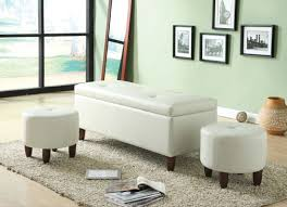 Ivory Living Room Furniture Acme 96027 Ibrahim Ivory Pu 3pcs Storage Bench And Ottomans