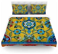 s seema z persian mood yellow blue duvet cover cotton