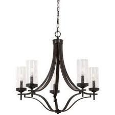 elyton 5 light downtown bronze with gold highlights chandelier with clear seedy glass shade