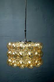 large vintage amber bubble glass pendant by helena tynell for glashütte limburg