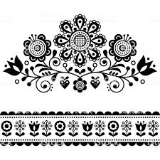 花伝統的な花のフレームや境界線黒と白のデザインと北欧ベクトル民芸