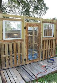 pallet shed. pallet garden shed potting old windows cans, diy, outdoor living, pallet, repurposing p