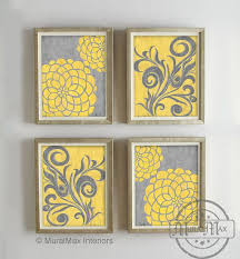 yellow and gray dahlia flower artwork set of wall art vintage on wall ideas nature canvas
