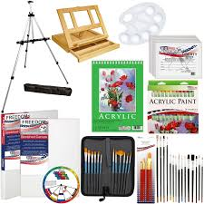 com us art supply 72 piece deluxe acrylic painting set with aluminum floor easel wood drawer table easel 24 s acrylic colors 9 x12 acrylic