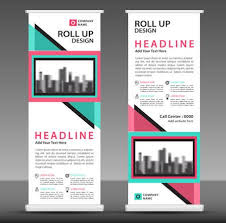 Advertisement Brochure Delectable Bluepink Roll Up Banner Template Pull Up Layout Business Brochure