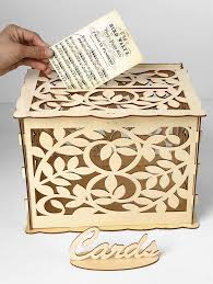 s wedding decoration leaves pattern diy wooden business card box