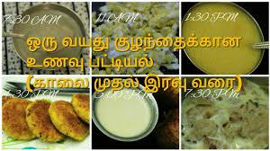 ஒர வயத க ழந த க க ன உணவ பட ட யல weight gaining food for es in tamil breakfast to dinner