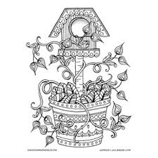 Small Picture Spring Birdhouse with Flowering Vines Coloring Page