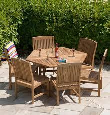 1 2m teak hexagonal folding table with