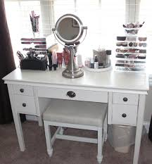 white painted wooden make up table with portable small rounded mirror the most popular mirrored vanity desk ideas