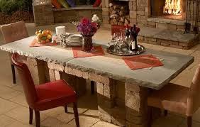 outdoor patio dining table concrete