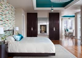 transitional master bedroom. Transitional Master Bedroom With Painted Ceiling Vivid Shades Of Teal Stand Out Against The Mostly Neutral