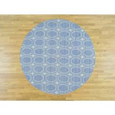 6 x6 hand woven flat weave reversible durie kilim round rug g37295