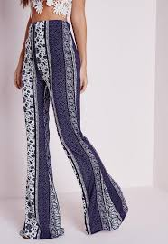 Flare Pants Pattern Best Paisley Print Flared Pants Blue Missguided