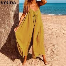 Buy <b>VONDA 2021</b> Rompers <b>Women</b> Jumpsuits Summer Sleeveless ...