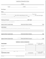 Permission Slip Forms Template Free Permission Slip Printable Parent Template Sample