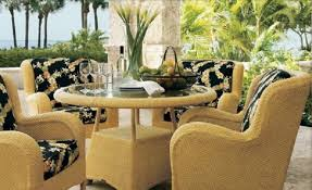luxurypatio modern rattan tommy bahama outdoor furniture. Elegant Tommy Bahama Outdoor Furniture Glass Vase Yellow Sofas Round Table Combined In Floral Motif Luxurypatio Modern Rattan