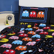 pac man retro gaming single double duvet cover reversible set licensed primark