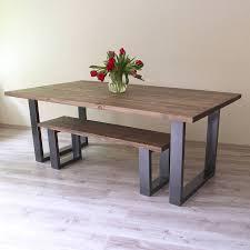 u shaped legs reclaimed wood dining table