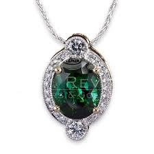 green tourmaline diamond pendant