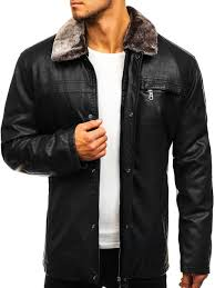 men s leather jacket black bolf 293