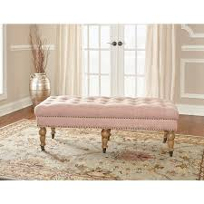Bedroom furniture benches Cushioned Isabelle Washed Pink Bench The Home Depot Pink Bedroom Benches Bedroom Furniture The Home Depot
