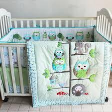 7pcs boy baby bedding set owl family nursery quilt per sheet crib skirt 06