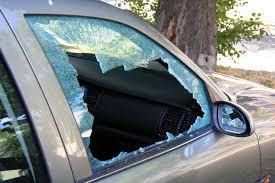 broken glass car side window
