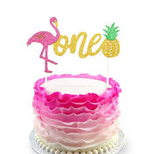 Amazoncom Flamingo Pineapple 1st First Birthday Cake Toppers