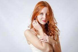 Krása Brok Mladé Modré Oči ženy S Její Zrzavé Vlasy Stock