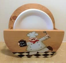 paper plate holder chef decor chef kitchen decor holder for plates wooden plate holder chef theme chef kitchen theme plate storage