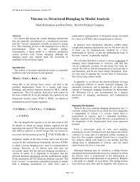 Viscous Damping Paper 36 Viscous Vs Structural Damping In Modal Analysis
