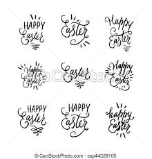 Swirls Templates Hand Written Lettering Easter Phrases Or Quotes Set Greeting Card Text Templates With Eggs Curls Swirls Isolated On White Background