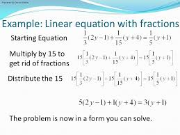 example linear equation with fractions