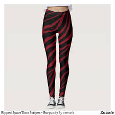 Cheap Tights With Designs Ripped Spacetime Stripes Burgundy Leggings Creative Yoga