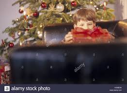 Christmas, Christmas tree, distribution presents, leather ball armchair,  boy, present, opens, detail, Christmas Eve, Christmas Eve, for Christmas,  Christmas ...