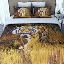 tiger bedding yellow brown white king duvet cover set tiger themed bedding animal print bedding sets