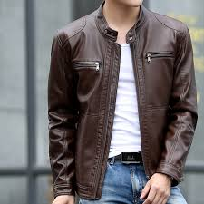 leather jackets men motorcycle leather jacket casual slim fisher s