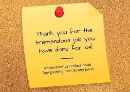 Admin Professionals Day Cards Yellow Sticky Note And Cork Board Administrative Professionals Day