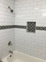 3 6 beveled subway tile beautiful large white subway tile with dark gray grout and gray fleur accent