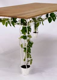 tabletop of Unique with Planter and Trellis as Its Legs