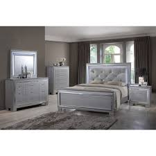 Best Quality Furniture Metallic Silver 4 piece Bedroom Set with