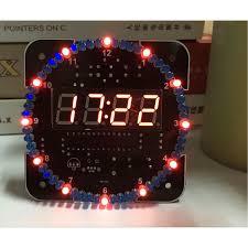diy rotating led electronic digital clock kit set