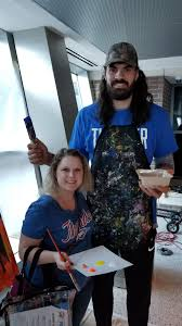 My wife got to paint with Steven Adams ...