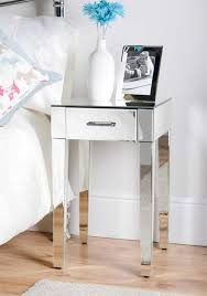 Adorable Small Mirrored Bedside Table With Single Drawer And White Vase For  White Master Bedroom