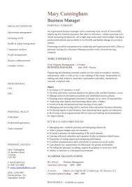 Business Manager Cv Sample Time Management Resume Organizing