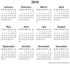 Calendar Year 2019 Printable 2019 Year Calendar Printable Free Creativeinfotech Info